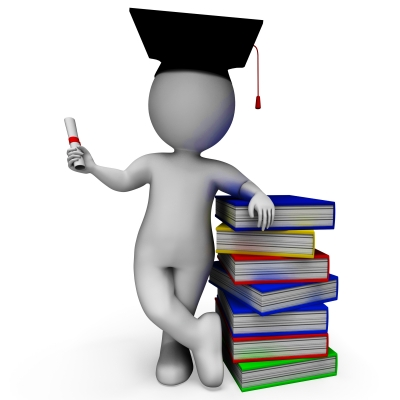 figure head with graduation cap and books